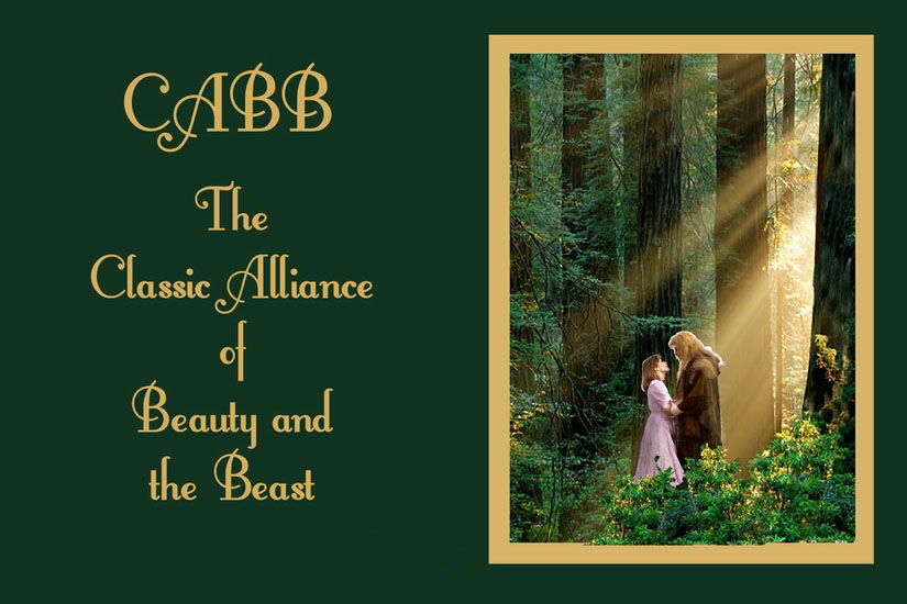 Image of Vincent and Catherine standing close together in a forest with a shaft of sunlight shining on them through the trees.  Logo for CABB, The Classic Alliance of Beauty and the Beast.